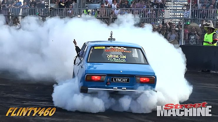 Andrew Lynch in Toyota Corolla Burnout