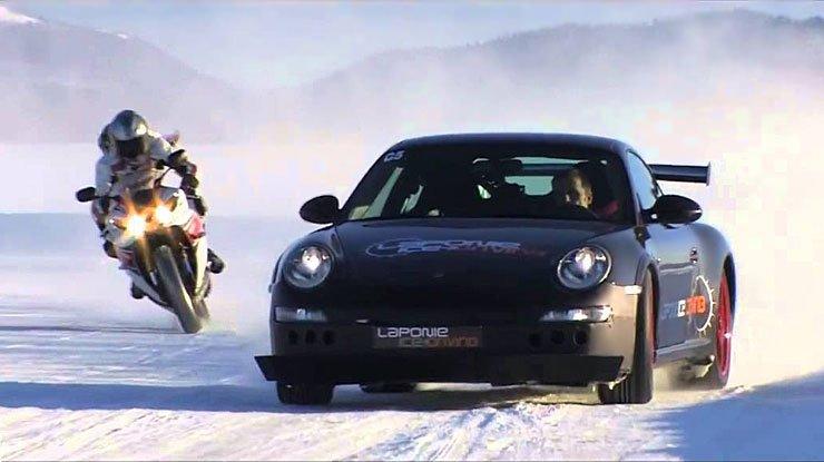 Yamaha R1 Vs Porsche GT3 RS On ICE