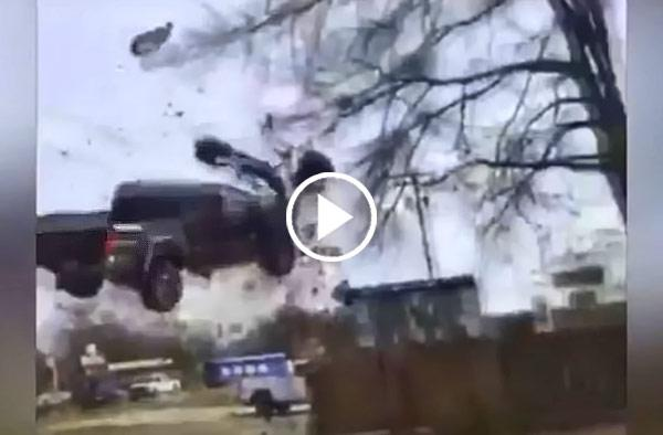 Caught On Camera Toyota Tacoma Launched Into Air After