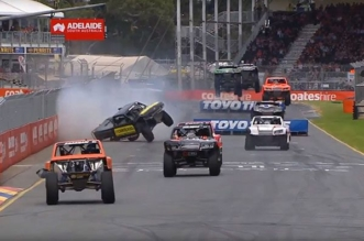 Adelaide Stadium Super Trucks race go wrong