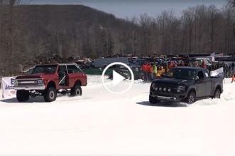 Chevy Blazer vs Ford Raptor in a snow drag race