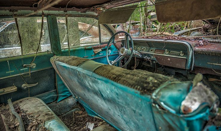 junkyard car interior