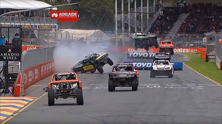 stadium super truck attempted pass go hilariously wrong