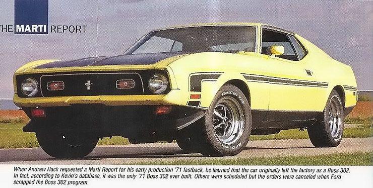 The Marti Report 1971 Boss 302 Mustang prototype
