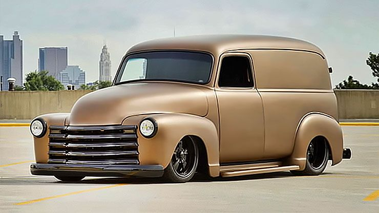 1947 Chevy panel truck front left