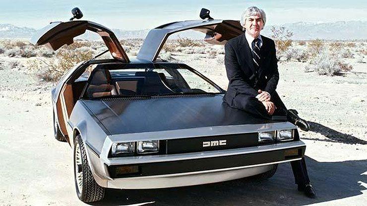 John DeLorean with car
