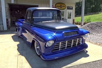 Amazing Candy Blue 1955 Chevy Street Truck