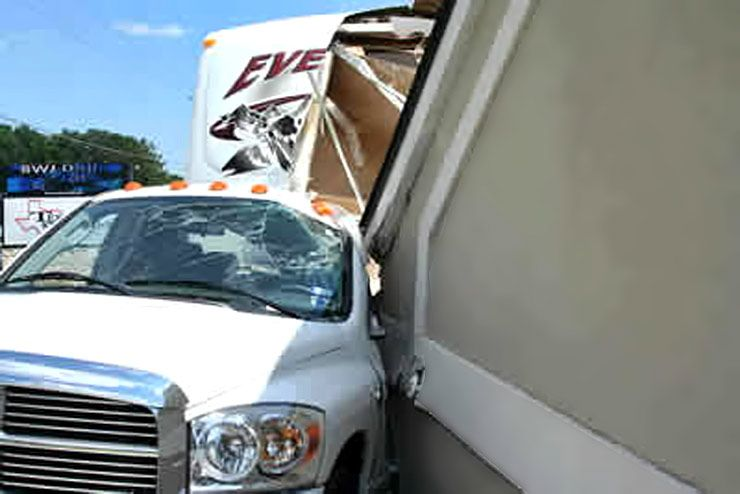 Dodge truck crushed under ATM awning