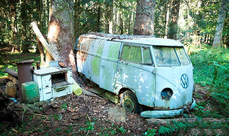abandoned 1955 VW panelvan in the forest