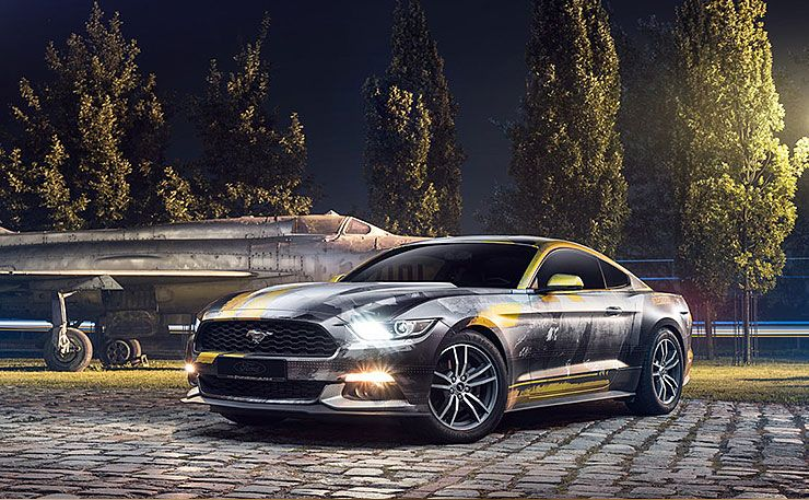custom wrapped Mustang