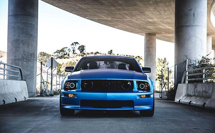 ford-mustang-matte-blue-metallic vinyl wrap