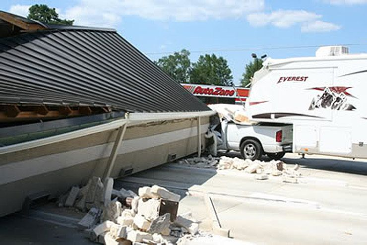 this truck gets crushed by an ATM awning