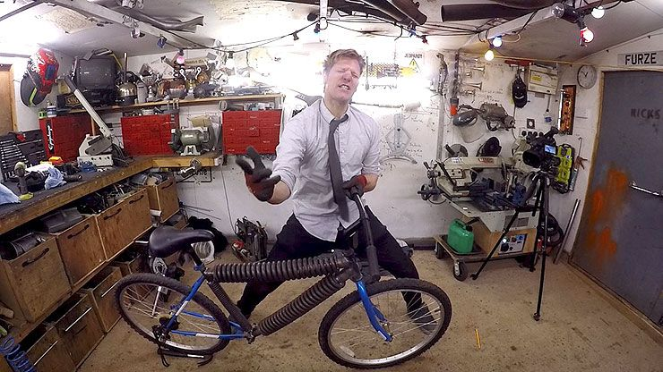 Colin Furze spring bicycle