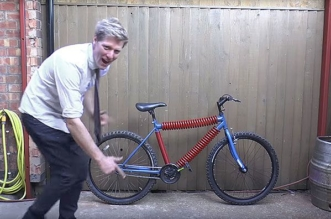 Colin Furze with bicycle made of springs