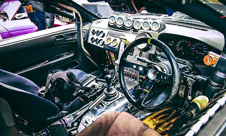 quad-turbo 2JZ Silvia by Caroline Racing interior