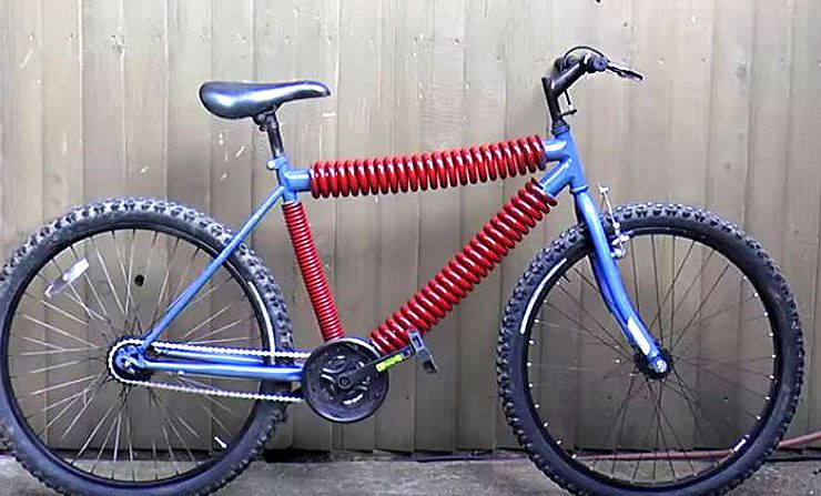 the bicycle frame made of springs