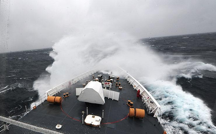 Bering sea rough weather during rescue mission