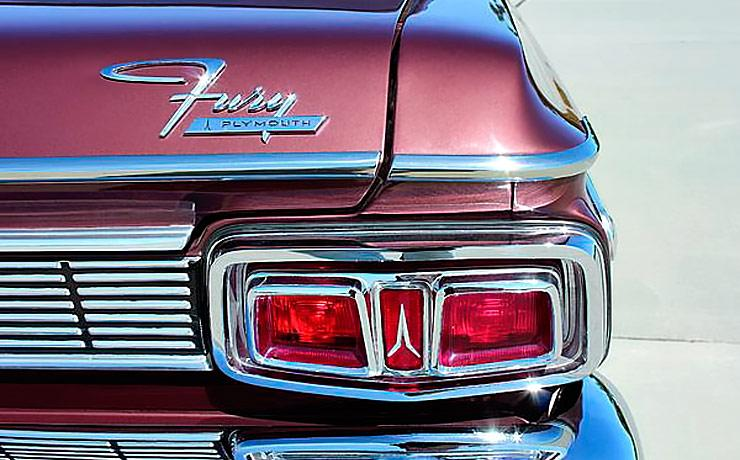 1964 Plymouth Fury tail light and rear emblem