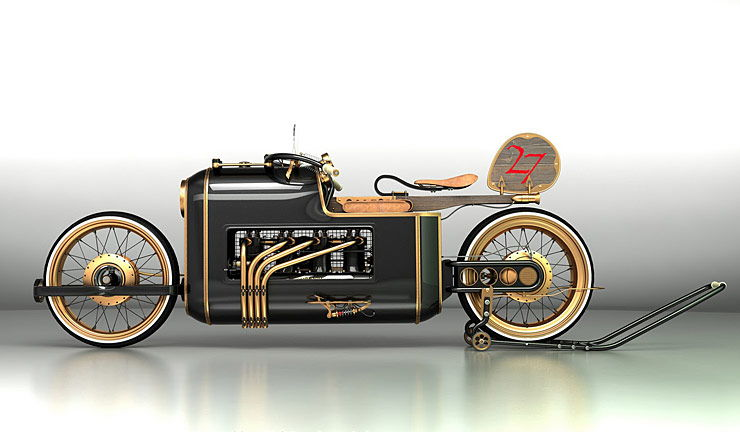 Steampunk motorcycle concept ARX-4 left