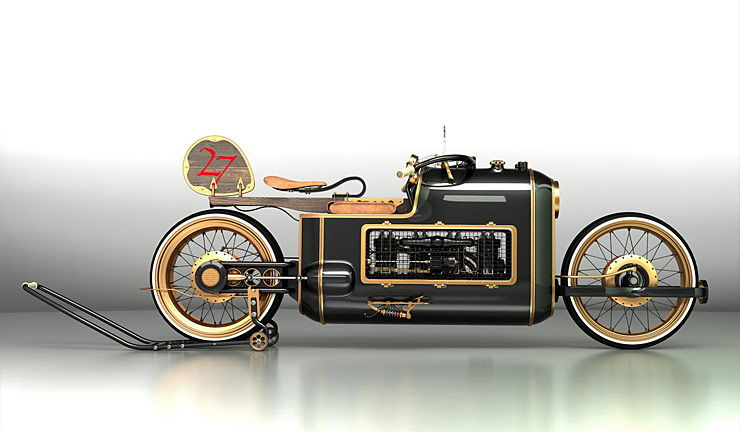Steampunk motorcycle concept ARX-4 right