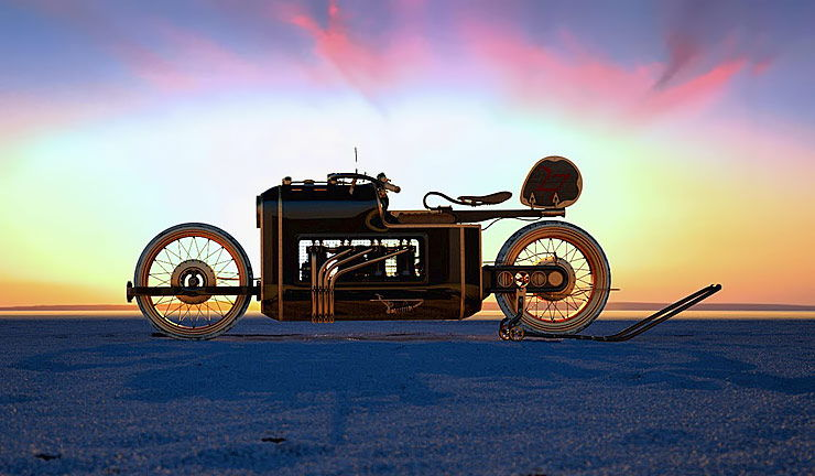 Steampunk motorcycle concept ARX-4 sunset