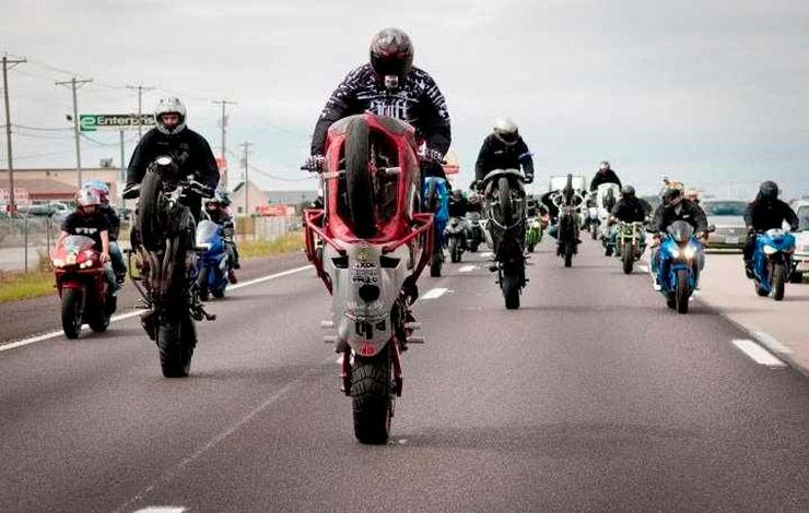 stunt riders take over the public highways