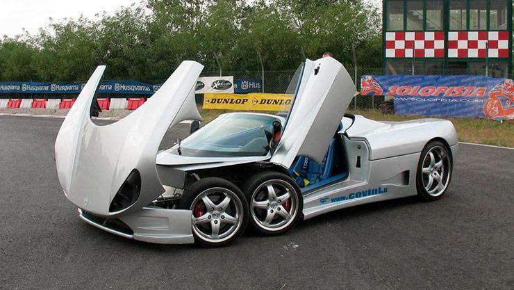Covini C6W six-wheeled supercar open doors