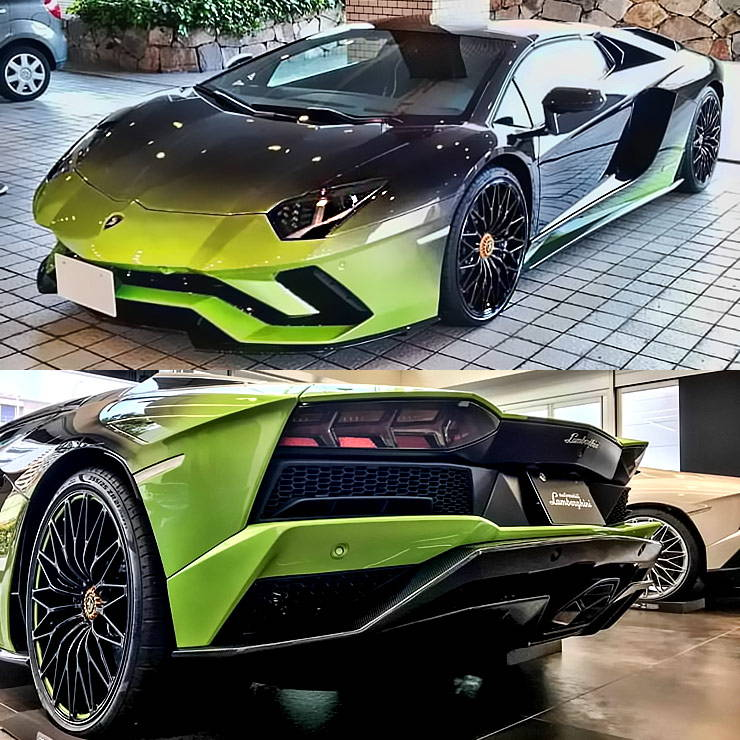Lamborghini Aventador S roadster 50th anniversary Japan earth Verde Ithaca / Nero Pegaso