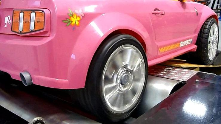 Mustang Barbie power wheels gets strapped to the rollers