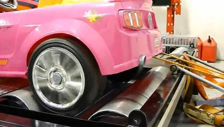 barbie power wheels ford mustang hits dyno