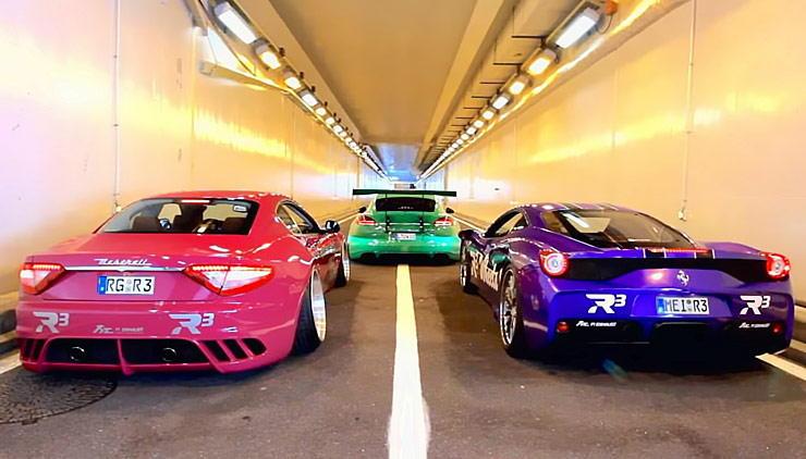 Ferrari 458 Speciale vs Maserati GranTurismo vs Porsche Panamera Turbo straight pipes REV BATTLE