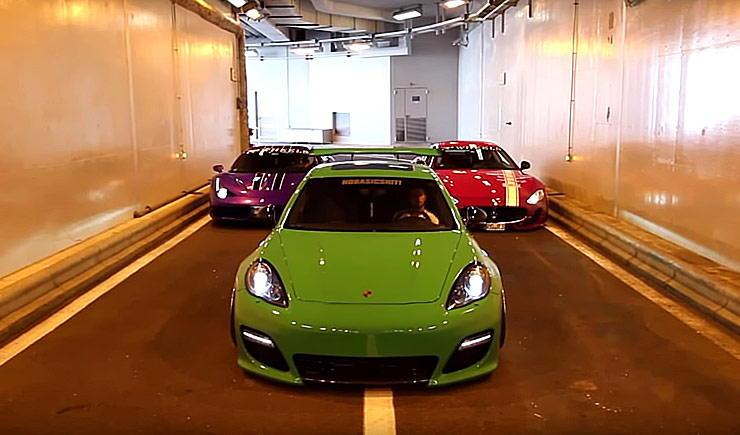 Porsche Panamera Turbo vs Ferrari 458 Speciale vs Maserati GranTurismo Straight Pipes REV BATTLE
