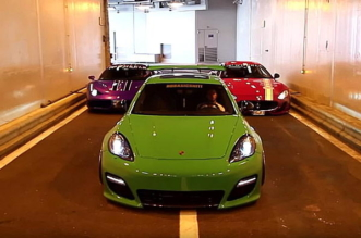 Porsche Panamera Turbo vs Ferrari 458 Speciale vs Maserati GranTurismo battle in Monaco tunnel