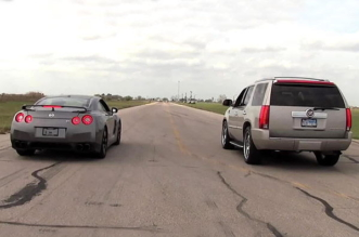 Hennessey twin-turbo Cadillac Escalade vs 2011 Nissan GT-R