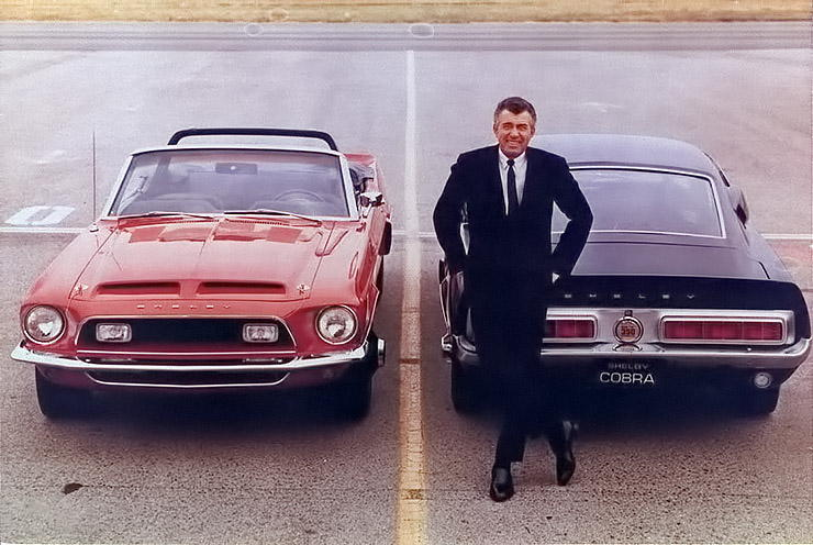 Carrol Shelby with 1967 Shelby GT cars