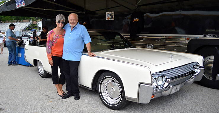 Bob Stange with his 1961 Lincoln Continental convertible