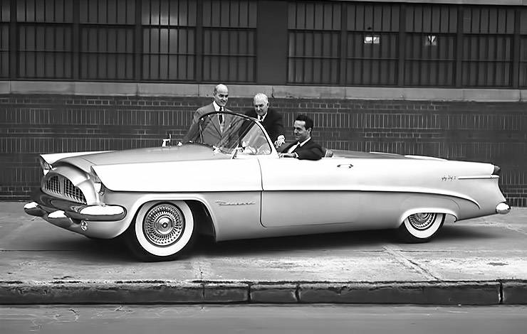 1953 Packard Panther-Daytona idea car, with Dick Teague at wheel and Bill Graves and Ed Macauley standing by car