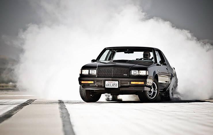 Buick Regal Grand National burning tires