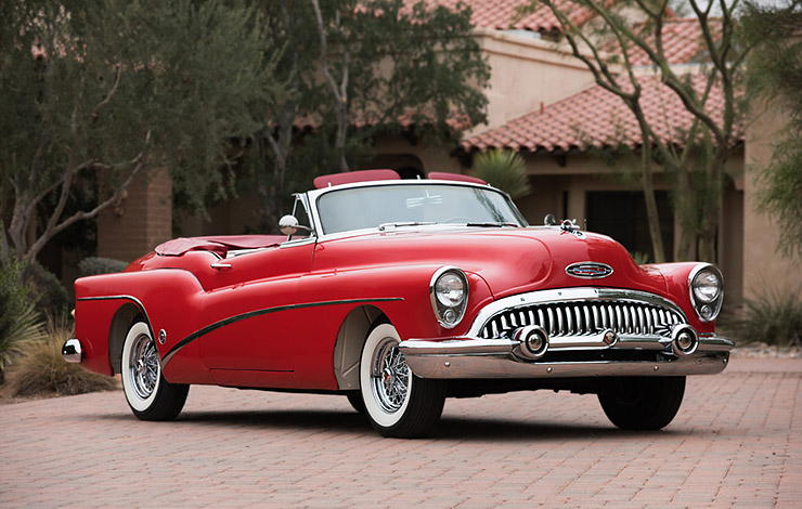 red 1953 Buick Skylark front right
