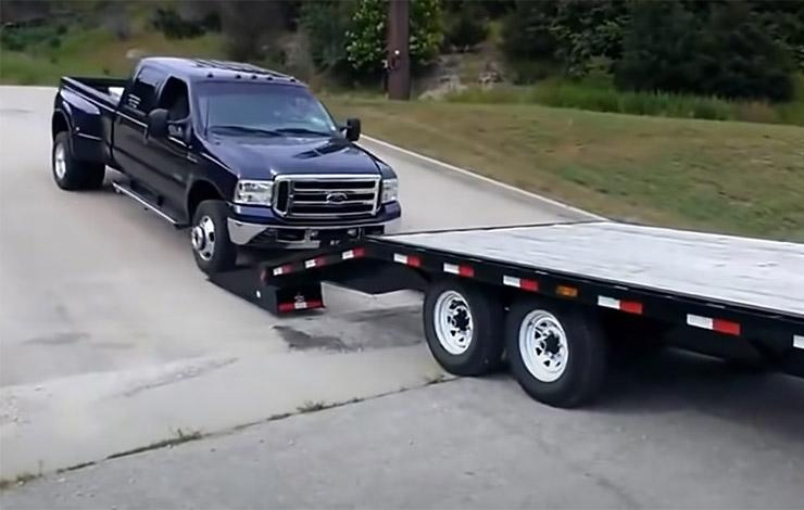 how not to load a Ford F-350 dually on a trailer