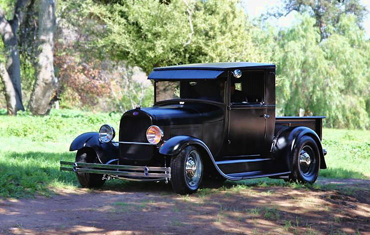 1929 Model A hot rod Wicked In Suede front left