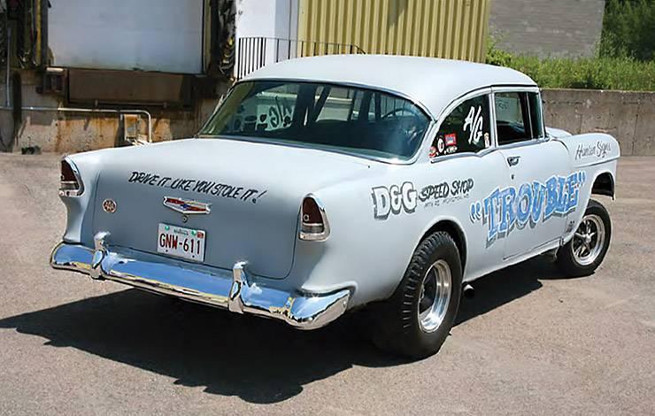 1955 Chevrolet 210 gasser nicknamed Trouble rear