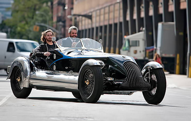 JT Nesbitt and Max Matern in Magnolia Special roadster