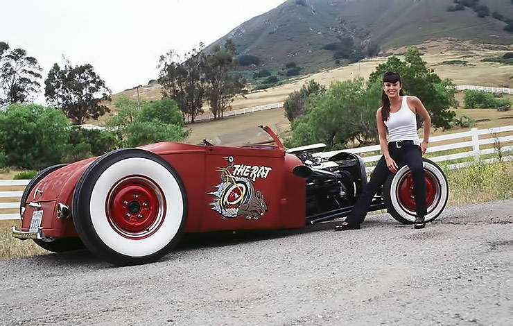 pin up girl and Ford 29 rat rod