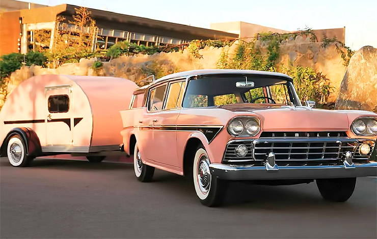 1958 Rambler Cross Country with a teardrop trailer