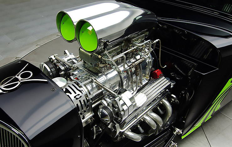 1934 Ford Coupe Hot Rod engine with blower