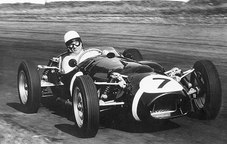 Stirling Moss in Ferguson P99 formula 1 racecar